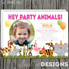 Zoo Birthday Party Invitation, Safari Invitation, Jungle Themed Invite, Wild Animal,  Neon, Bright Colored Girl Invitation - PRINTABLE on Etsy, $12.00