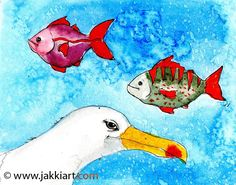"""""""Seagull Thoughts"""" by Jakki Moore ~ French Inks & Watercolour www.jakkiart.com #Seagull #JakkiMoore #Fish #Art Fish Art, Watercolour, Snoopy, French, Thoughts, Fictional Characters, Collection, Pen And Wash, Watercolor Painting"""