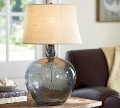Clift Glass Table Lamp Base - Smoke Gray #potterybarn $170 with a bisque color lampshade $49