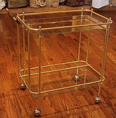 Stunning Hollywood Glam Mid Century Modern Polished Brass Tea Cart Bar Trolley   eBay