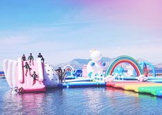 Excellent news for anyone who embraces whimsy as a way of life: Unicorn Island is real, and you can actually go there. Part of the giant floating playground known as the Inflatable Island, Unicorn Island is in the Philippines; it's located on the Sub… Inflatable Island, Inflatable Water Park, Giant Inflatable Unicorn, Unicorn Island, Les Philippines, Cool Pools, Summer Vibes, Places To Go, Travel Destinations
