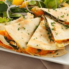 - Vegetable and Goat Cheese Quesadilla  INGREDIENTS Whole-grain/whole-wheat tortilla 1/4 cup thinly sliced white onion 1 tablespoon extra-virgin olive oil Dash of salt and pepper 1/2 teaspoon cumin 1/2 cup shredded goat cheese (a hard variety will work best) 1/2 a large tomato, sliced 1 small handful of fresh herbs (basil and sage work well)  DIRECTIONS 1.Heat 1 tablespoon olive oil in a large saucepan over medium heat.  2.Sautée onions until translucent , seasoning with salt, pepper, and…