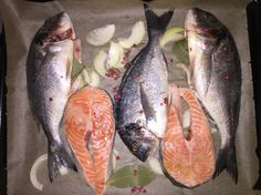 Oven baked salmon +bream fish