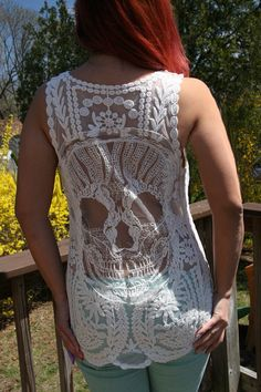 NEW Candy Skull Crochet Back Boho Tank Top - BeIge or Pink Lace Tank NEW on Etsy, $36.00