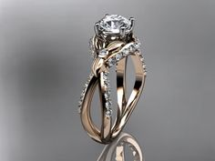 Unique 14kt  rose gold diamond leaf and vine wedding ring,engagement ring ADLR218