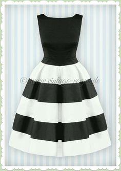 Dolly & Dotty 50er Jahre Streifen Petticoat Kleid - Anna - Schwarz Weiß Vintage Rockabilly Retro Kleid in schwarz & weiß gestreift Aus weichem Baumwoll Stretch