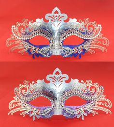Silver Couples Masquerade Ball Mask with Rhinestones,Silver Filigree Metal Mask Set,Royal Blue Purple Men Women Ball Party Mask Collection by MagicMask on Etsy https://www.etsy.com/listing/191033718/silver-couples-masquerade-ball-mask-with