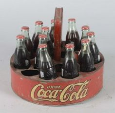Coca Cola Round Ball Park Carrier With Bottles