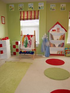 Decoration Cute Kids Playroom Paint Ideas Combining Bedroom Green Wall Mixed With Red White Bookshelf Also Cabinet Canvas Painting On It As Well