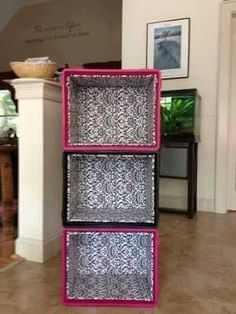 I like this idea. I want to use Milk crates as a creative way to store our shoes. The milk crates I made into shelves for my dorm Milk Crate Furniture, Diy Furniture, Home Projects, Home Crafts, Diy Home Decor, Kids Storage, Storage Shelves, Shoe Storage, Book Shelves