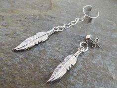 Feather Asymetrical Ear Cuff Bohemian Silver by MidnightsMojo