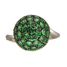 Vintage Round 3.23ct Tsavorite Green Garnet 18k White Gold Cluster Dome Ring in Jewelry & Watches, Vintage & Antique Jewelry, Other Vintage Jewelry | eBay