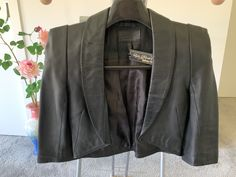 Preloved. This striking women bolero jacket is handmade leather jacket, 100% soft genuine leather…smell good!