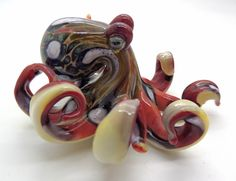 Tequila Sunrise Handmade Boro Glass Octopus Pendant/Scuplture by Natural Glass, $38.00 USD #Zibbet