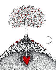 Der große Baum mit Mond - Drucken des ursprünglichen Herzens Zeichnung von seth