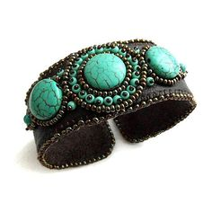 Turquoise brown leather bracelet, bead embroidered OOAK jewelry... ($103) ❤ liked on Polyvore