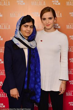 Talented duo: Malala Yousafzai and Emma Watson met for the Into Film Festival premiere of the anticipated big screen biopic He Named Me Malala on Wednesday
