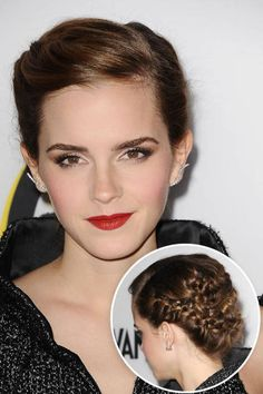 Emma Watson.  Next Photo: Getty Images VIEW LARGER VIEW THUMBNAILS EMMA WATSON Watson's updo that stays simple in the front and looks complexly stitched in the back ensures all eyes will be on you as you walk by on the special day.