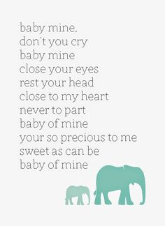 Baby Mine Dumbo Disney Lullaby Free Printable