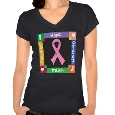 Breast Cancer Hope Strength Faith shirts, apparel and gifts by www.giftsforawareness.com #breastcancer #breastcancerawareness #breastcancershirts