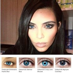 Pin for Later: Would You Try Kim and Kanye's Latest Matchy-Matchy Beauty Trend? Kim Kardashian With Blue Eyes Color Contact Lenses Online, Coloured Contact Lenses, Kim Kardashian Kanye West, Kim And Kanye, World Most Beautiful Woman, Simply Beautiful, Nicki Minaji, Troco Likes, Beauty Trends