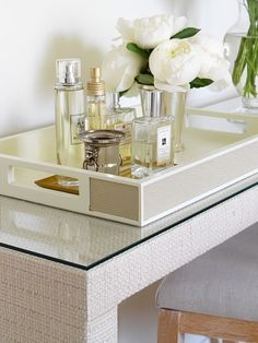 Suzie: Margot Austin - Chic bedroom vanity vignette with fabric covered console table, ivory ...