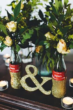 DIY Share a Coke bottle centerpieces - photo by Emily Chidester http://ruffledblog.com/diy-share-a-coke-bottle-centerpieces