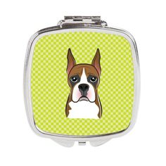 Checkerboard Lime Green Boxer Compact Mirror BB1285SCM