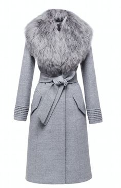SENTALER Luxury Outerwear Langer Mantel mit Pelzkragen Source by Theclosetconsul Long Grey Coat, Long Fur Coat, Grey Fur Coat, Coats With Fur, Long Coats, Faux Fur Collar Coat, Look Fashion, Winter Fashion, Fashion Outfits