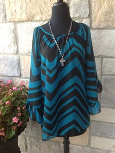Teal black chevron ruffle sleeve top Tee for the soul