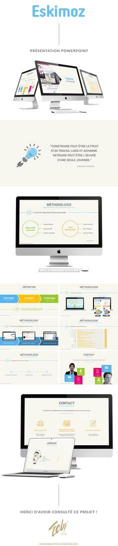 Refonte et amélioration graphique et de mise en page d'une présentation powerpoint qui servira de template pour l'entreprise Eskimoz.  http://www.sebastien-galdeano.com/portfolio/1-Web/75-Pr_C_sentation_Powerpoint/458-Eskimoz.html