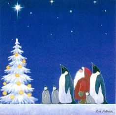Night Lights Penguin And Santa Eva Melhuish Christmas Cards 10 Pack Swedish Christmas, Woodland Christmas, Christmas Art, Vintage Christmas, Winter Illustration, Christmas Illustration, Christmas Topper, Penguin Art, Apple Watch Wallpaper