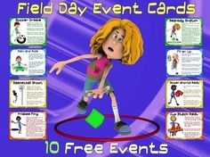 "Field Day Event Cards- 10 FREE Events...FIELD DAY IS THE ""BEST DAY OF THE YEAR!"""