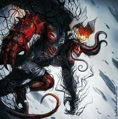 Hellboy combined with Venom Symbiote