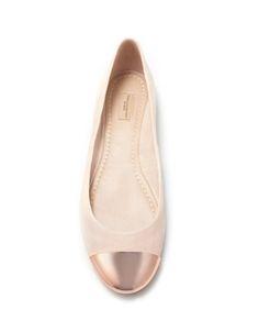 Zara ballet flat with rose gold metal tip.