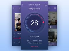 Smart Home Thermostat designed by Ricardo Salazar. Mobile Ui Design, App Ui Design, User Interface Design, Hotel App, Home Thermostat, Iphone Ui, Smart Home Automation, Data Visualization, Mobile App