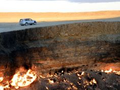 Situated near the small town of Darvaz in Turkmenistan. Thirty-five years ago, geologists were drilling for gas when then encountered a very large cavern underground filled with a poisonous gas. They ignited the gas expecting it to burn off in a few hours. The gas is still burning to this day