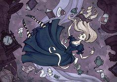 Алиса в стране чудес Ксении Свинцовой -   Всем поклонникам Тима Бертона - смотреть обязательно. Остальным - по желанию. Безнадежным оптимистам - вход запрещен.  #художник #иллюстратор #готика #тёмноефэнтези #artist #illustrator #gothic #darkfantasy