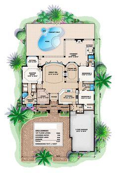 First Floor Plan of Florida   Luxury   Mediterranean   House Plan 60519