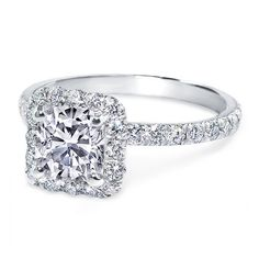 Engagement Ring - Cushion Diamond Halo Engagement Ring Diamond Band in... ($1,490) ❤ liked on Polyvore