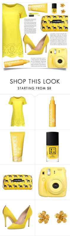 """""""love yellow"""" by rosegal-official ❤ liked on Polyvore featuring Clinique, 3ina, Marc Tetro, Fujifilm, SJP, Alex Monroe and MAC Cosmetics"""