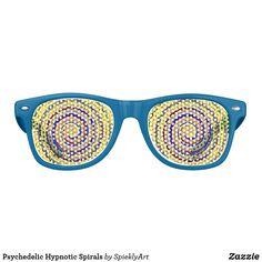 Psychedelic Hypnotic Spirals blue retro sunglasses #sunglasses #funny #hypnosis