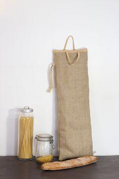 Sac à pain , sac à baguette en toile de jute irisé et tissu jaune japonais de la boutique LAtelierdeMalmousque sur Etsy