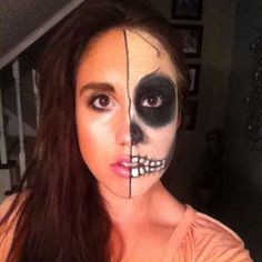 Make up one side of your face to create this look. - Instagram user chelseacoles