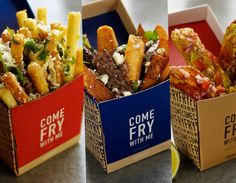 We thought we'd become numb to the novelty restaurant, those trendy one-tricky ponies, but that's until we heard about Come Fry With Me. It's a restaurant that only serves chips. They had us at chips. Restaurant Branding, Food Truck, Fries Packaging, Italian Lemon Pound Cake, Pizzeria, Food Wallpaper, Food Concept, Food Packaging Design, Modern Kitchens