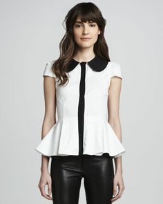Clementine Contrast Peplum Blouse at CUSP.