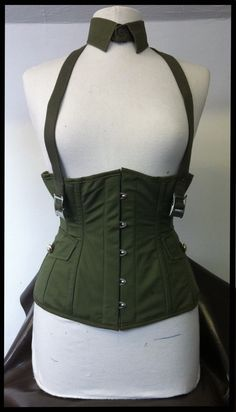 military steel boned under bust corset made from recycled army surplus