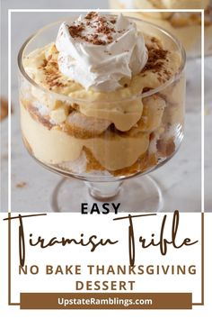 This no bake tiramisu trifle is a quick and easy take on a classic tiramisu recipe. The dessert has angel food cake soaked with coffee and rum, topped with a creamy Mascarpone layer and whipped topping. Perfect for the holidays or anytime you want a spectacular, crowd pleasing dessert! Baking Recipes, Yummy Recipes, Cake Recipes, Dessert Recipes, Yummy Food, Thanksgiving Food Crafts, Thanksgiving Dinner Recipes, Classic Tiramisu Recipe, Tiramisu Trifle