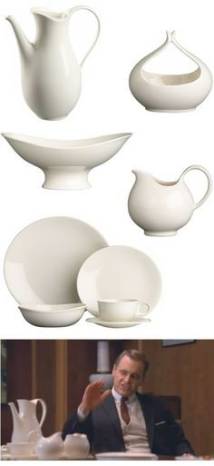 eva zeisel  We had this china when I was a girl!!! it was in a celadon green color and the tea pot cream and bowls were exactly the same!!