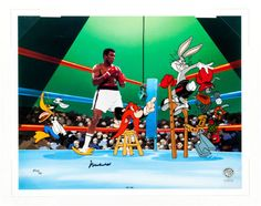 "Empty That Glove Looney Tunes and Muhammad Ali Limited Edition Cel Set-Up 23/25 (Warner Brothers, 1997). A 16-field cel of #MuhammadAli preparing to do battle with ""That Oscar Winning Rabbit... Bugs Bunny!"" This hand-painted cel features Ali opposite #BugsBunny, #DaffyDuck, and Yosemite Sam as the referee. This is a rare EP Edition autographed by Ali, created exclusively for the Business Team members who designed and published this artwork. This is #23 of only 25 that were created."